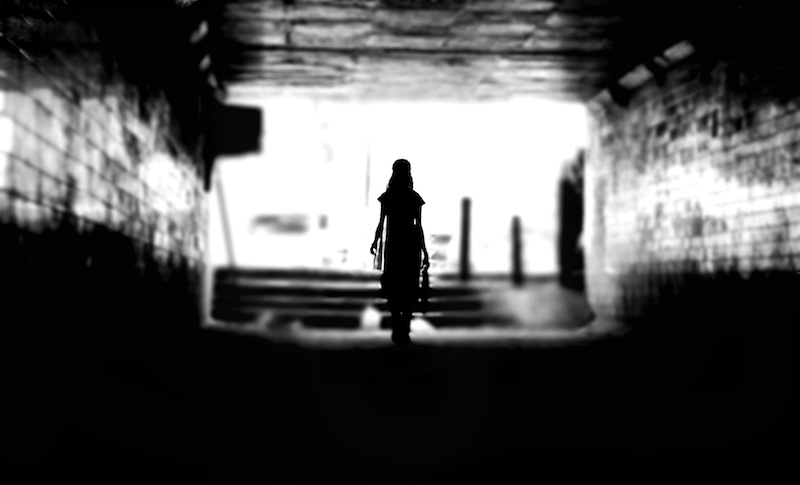Black and White Lady in a Tunnel Himanshu Singh Gurjar
