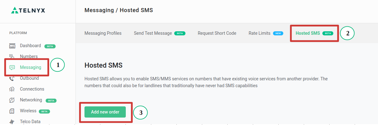 new hosted sms order