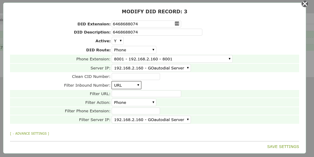 GoAutoDial - Modifying a DID Record (Credentials)