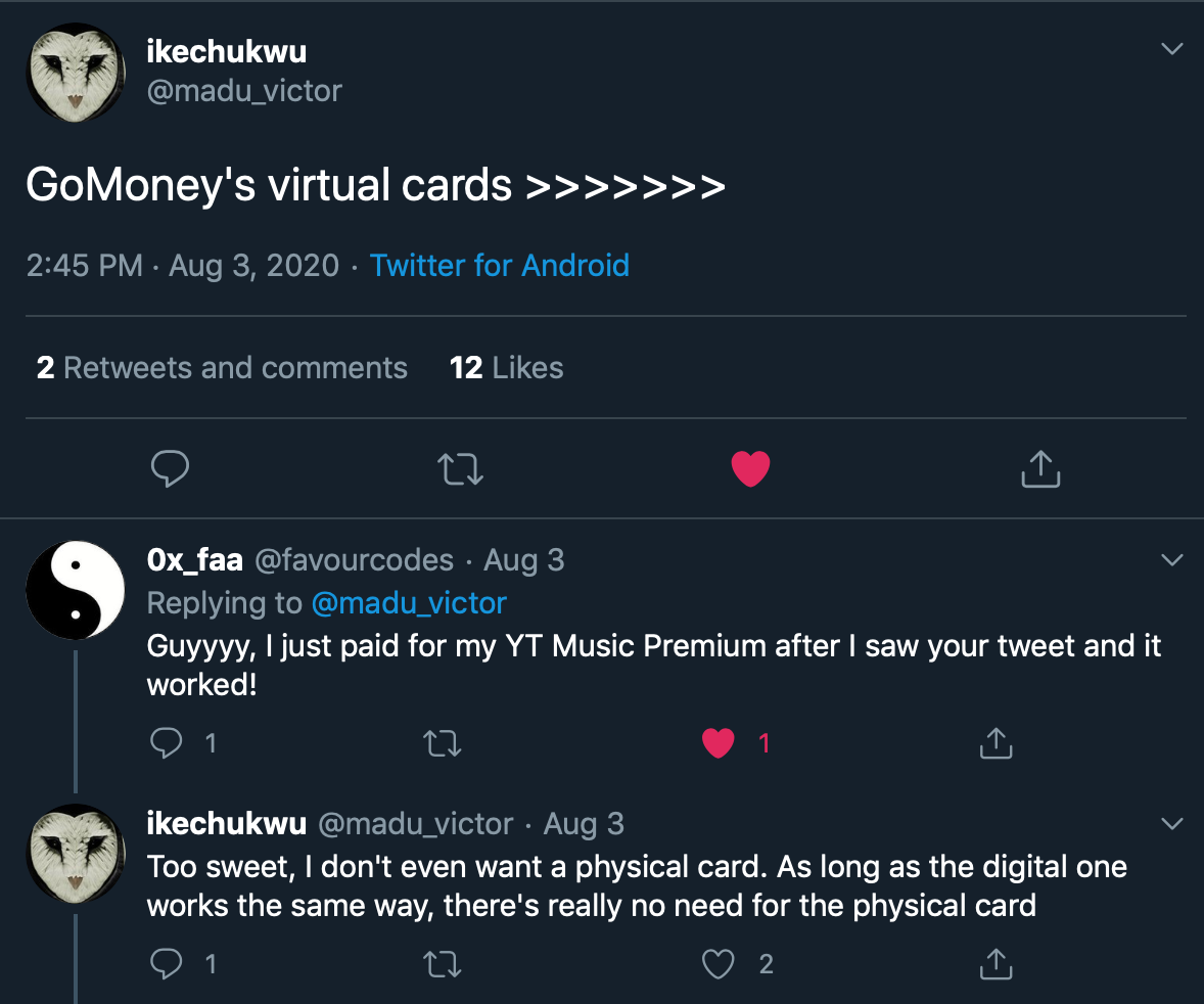 gomoney users loving their virtual cards