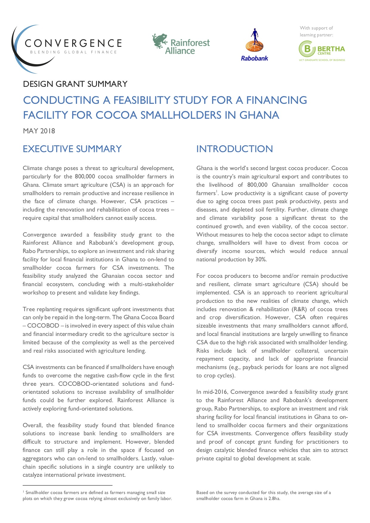 Conducting a Feasibility Study for a Financing Facility for Cocoa Smallholders in Ghana Design Grant Summary