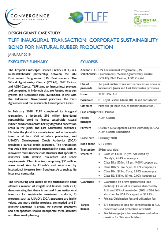 TLFF Inaugural transaction: Corporate sustainability bond for natural rubber production