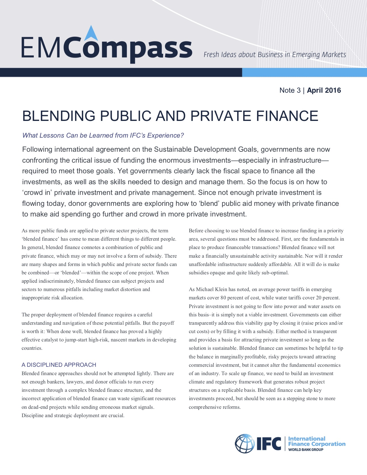 Blending Public and Private Finance