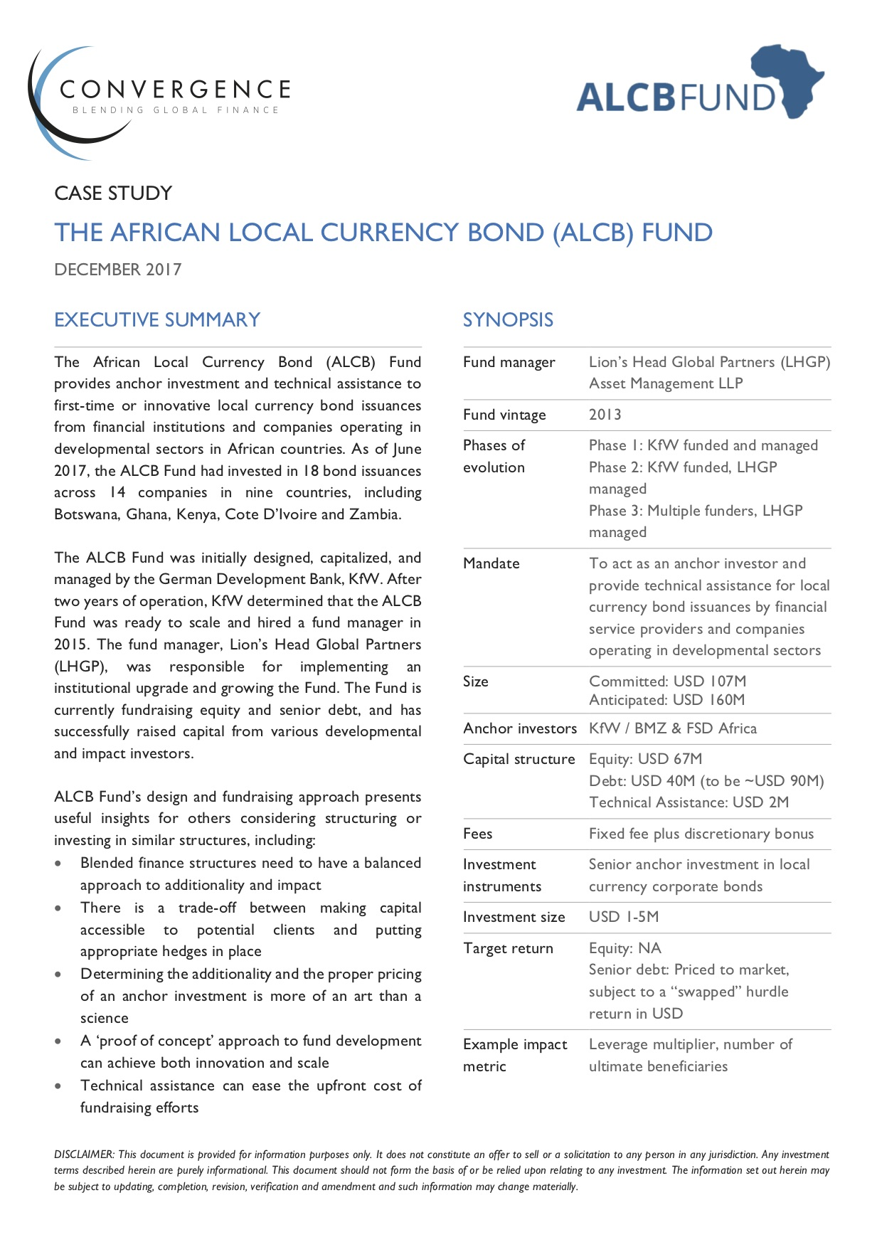The African Local Currency Bond (ALCB) Fund