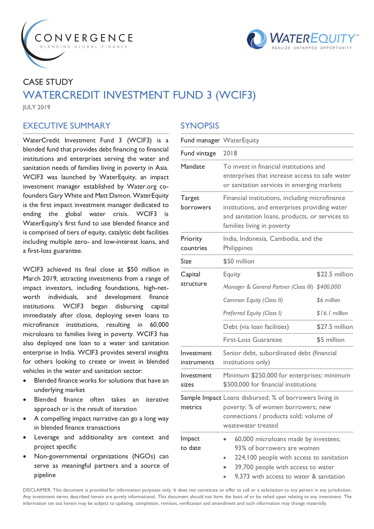 WaterCredit Investment Fund 3 Case Study