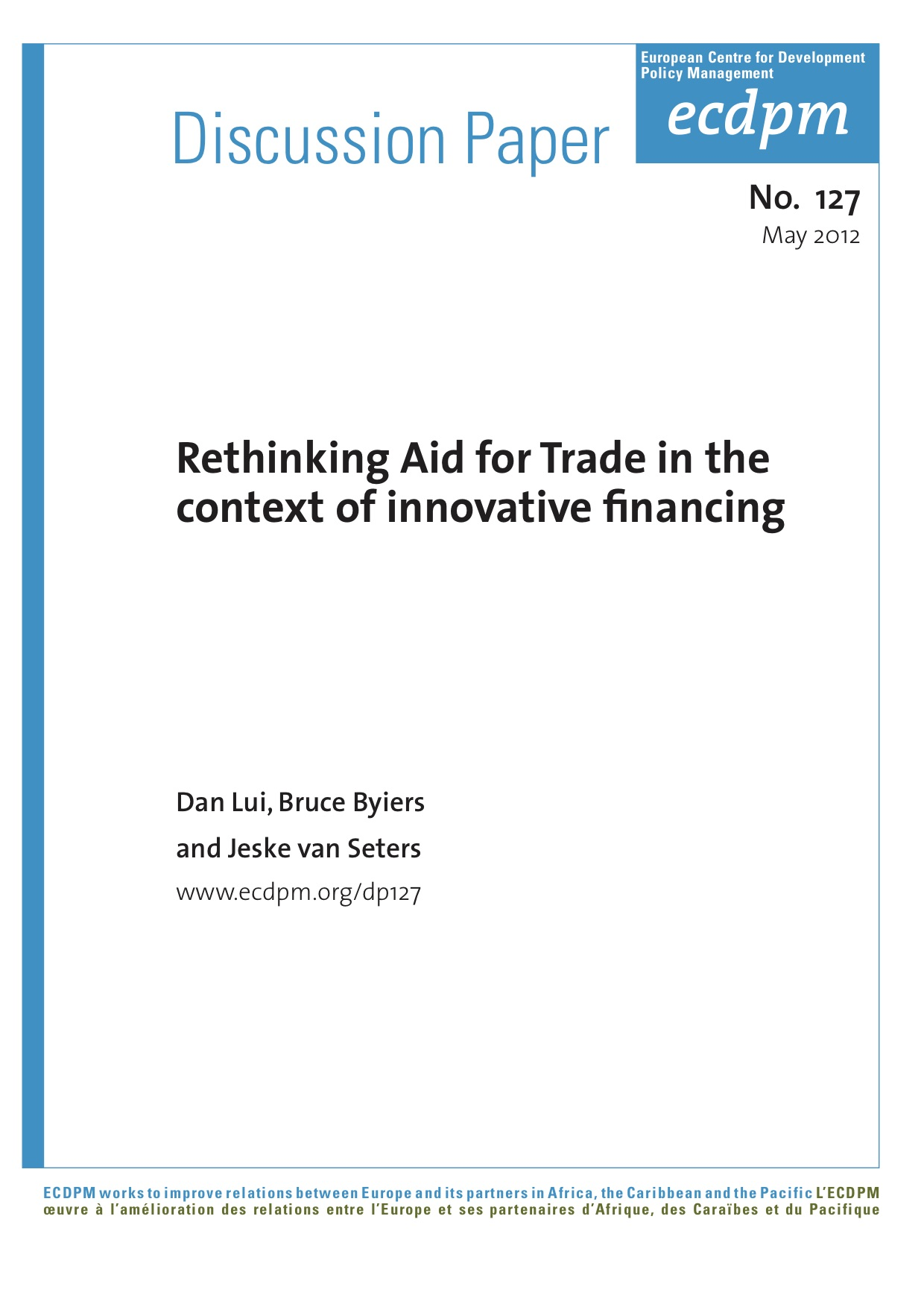 Rethinking Aid for Trade in the Context of Innovative Financing