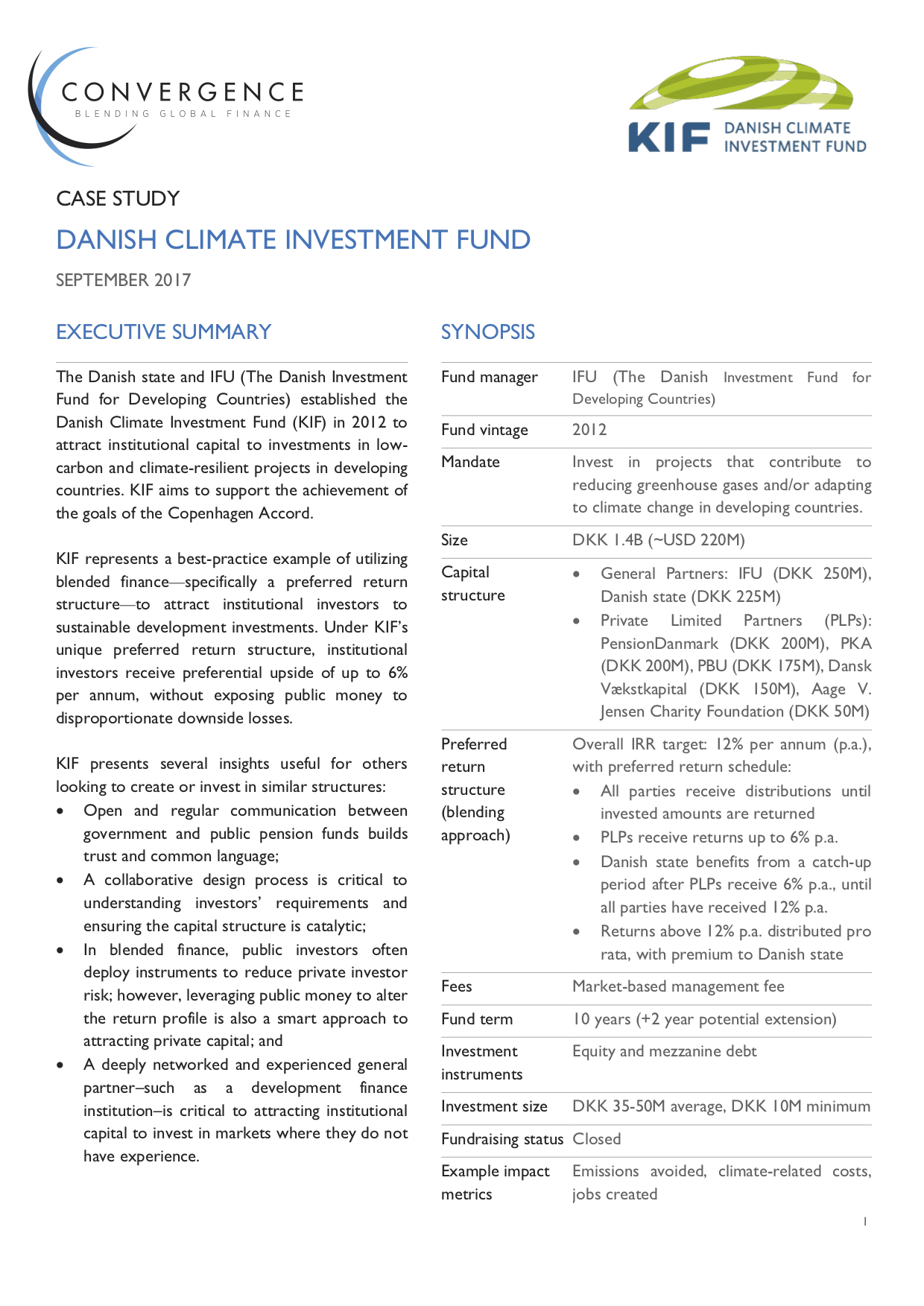 Danish Climate Investment Fund Case Study