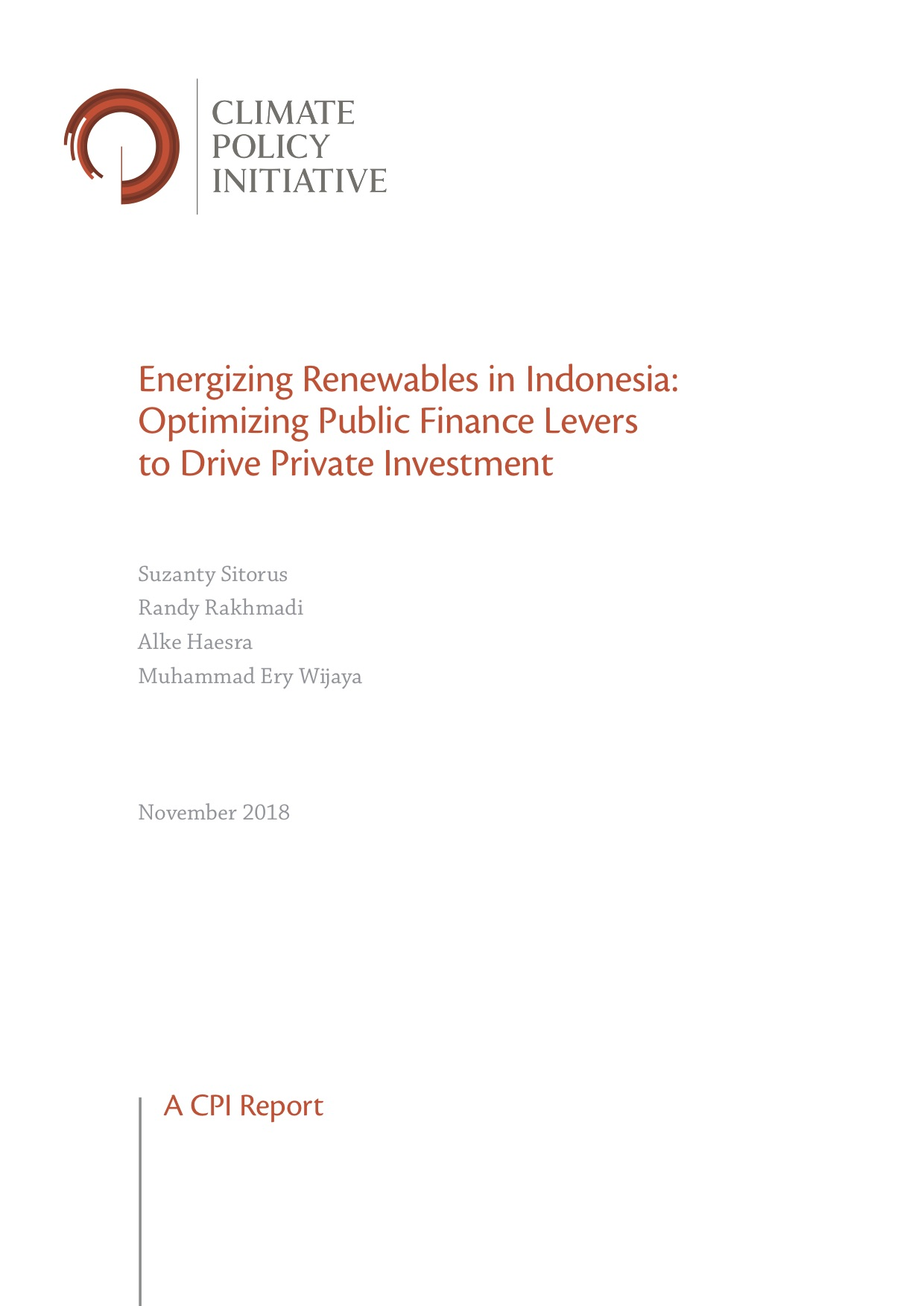 Energizing Renewables in Indonesia: Optimizing Public Finance Levers to Drive Private Investment