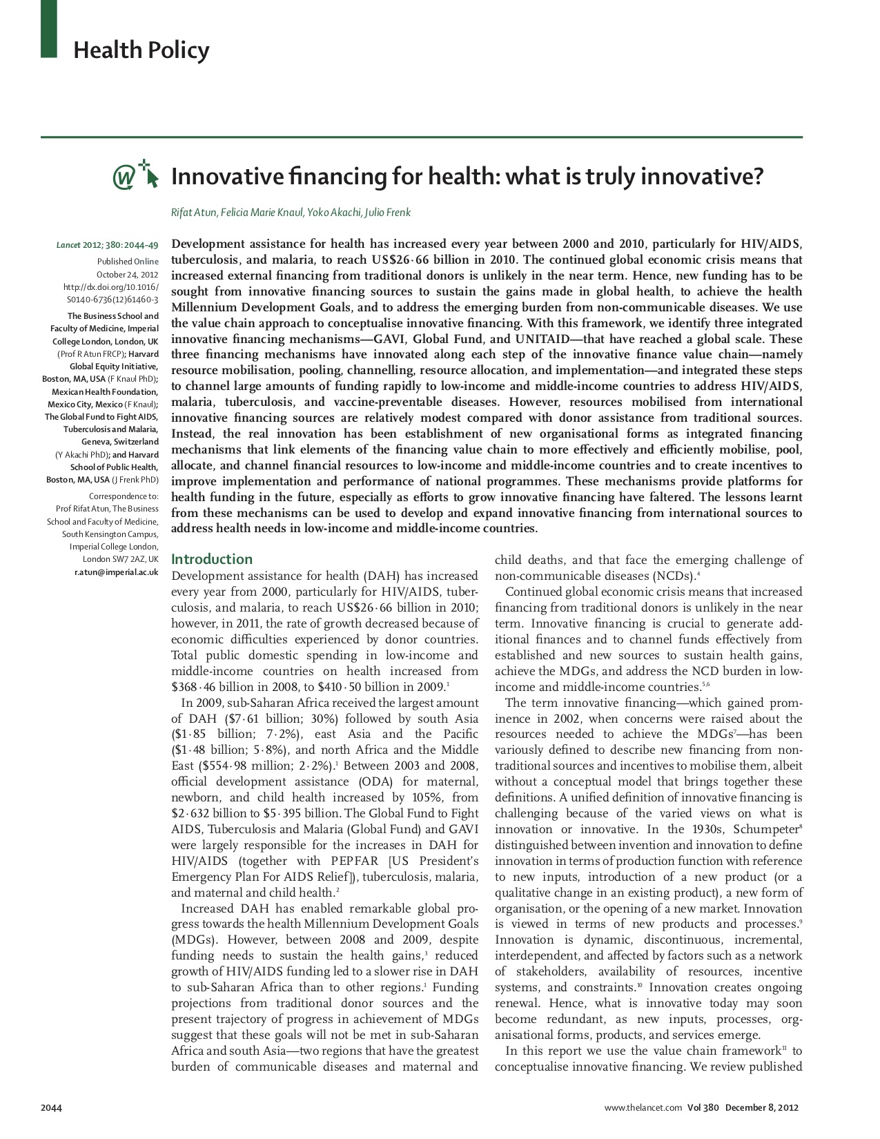 Innovative Financing for Health: What is Truly Innovative?