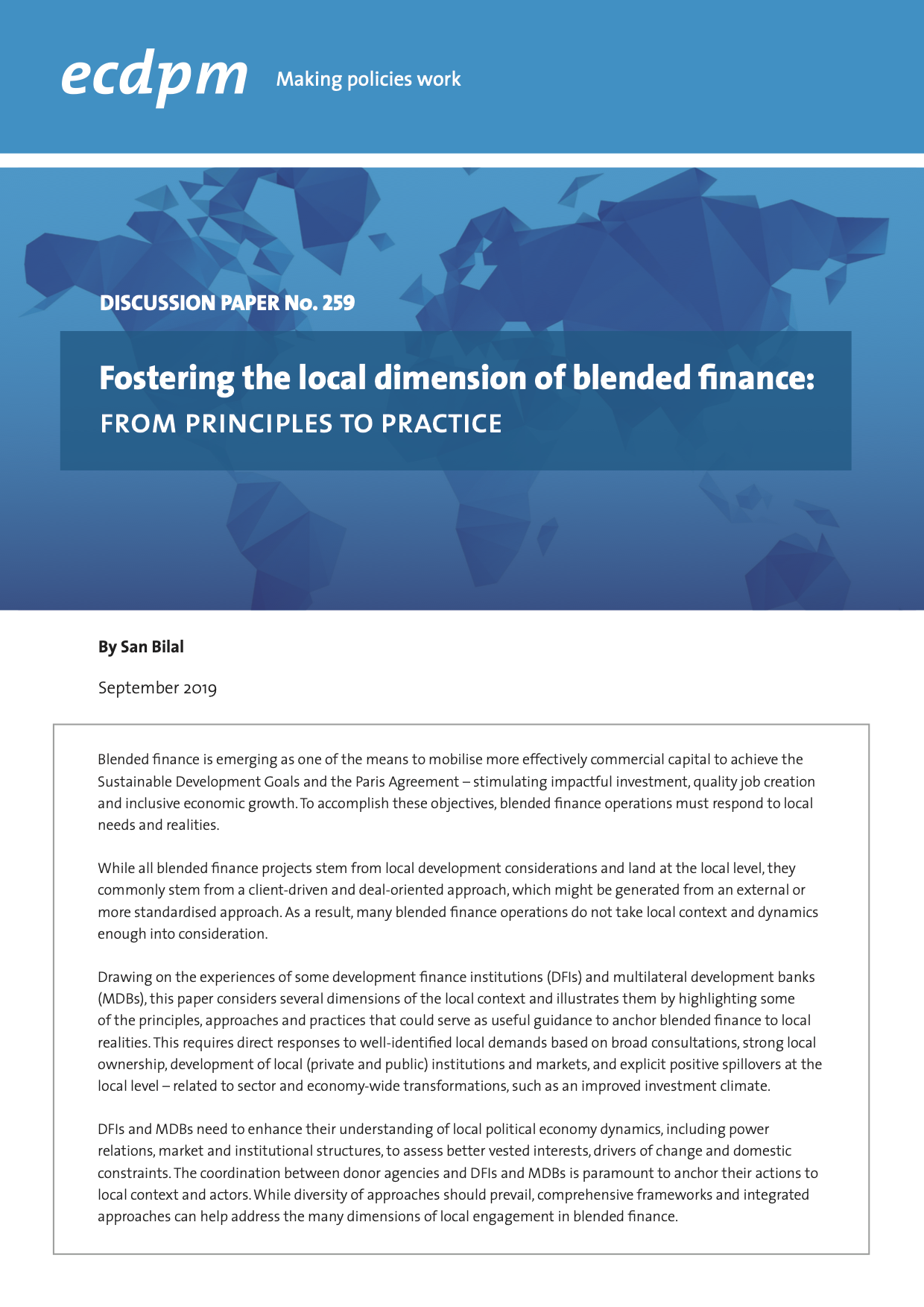 Fostering the Local Dimension of Blended Finance: From Principles to Practice