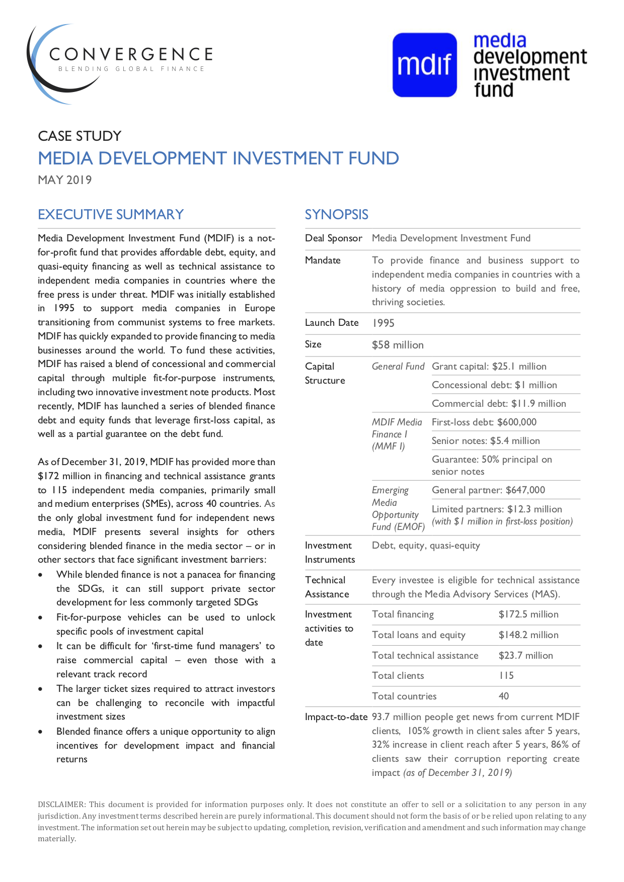 Media Development Investment Fund Case Study