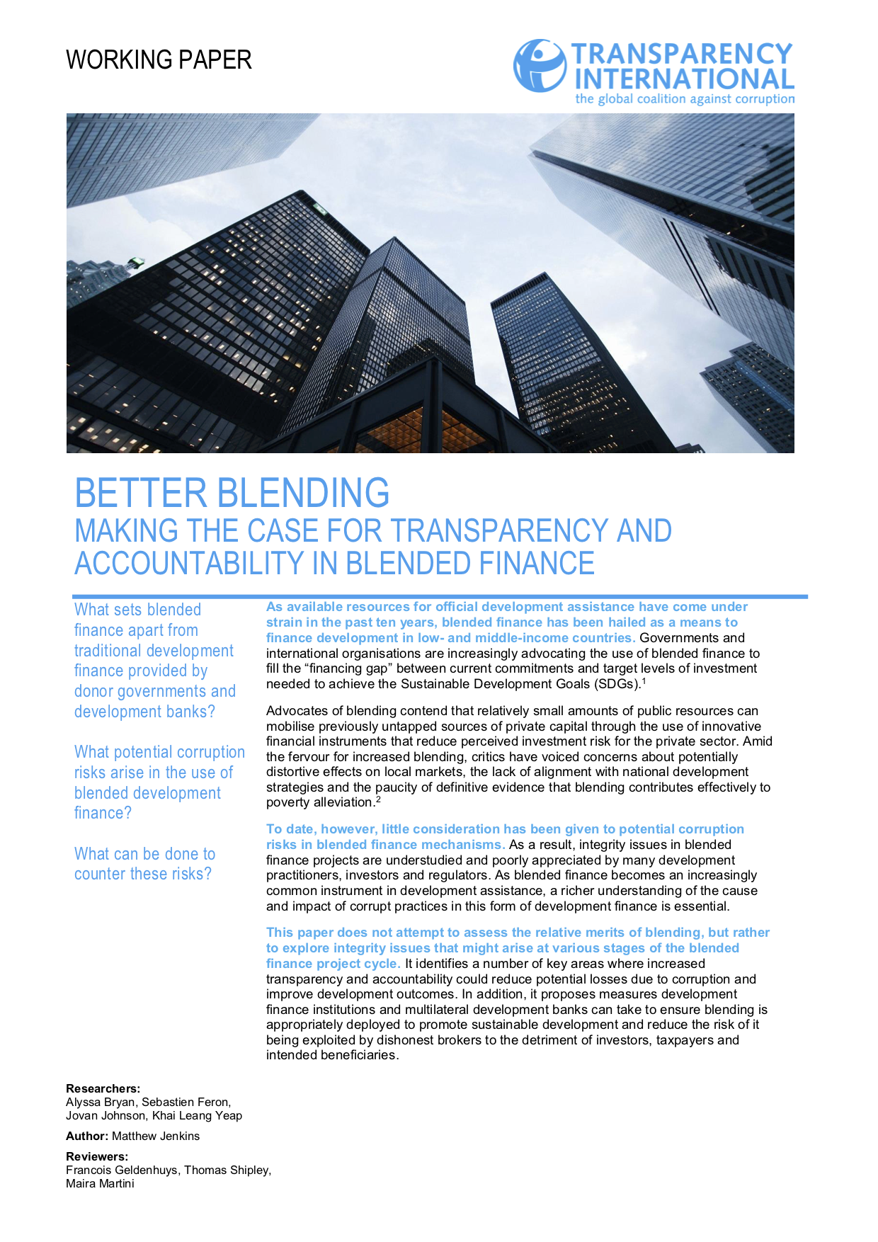 Better Blending: Making the Case for Transparency and Accountability in Blended Finance