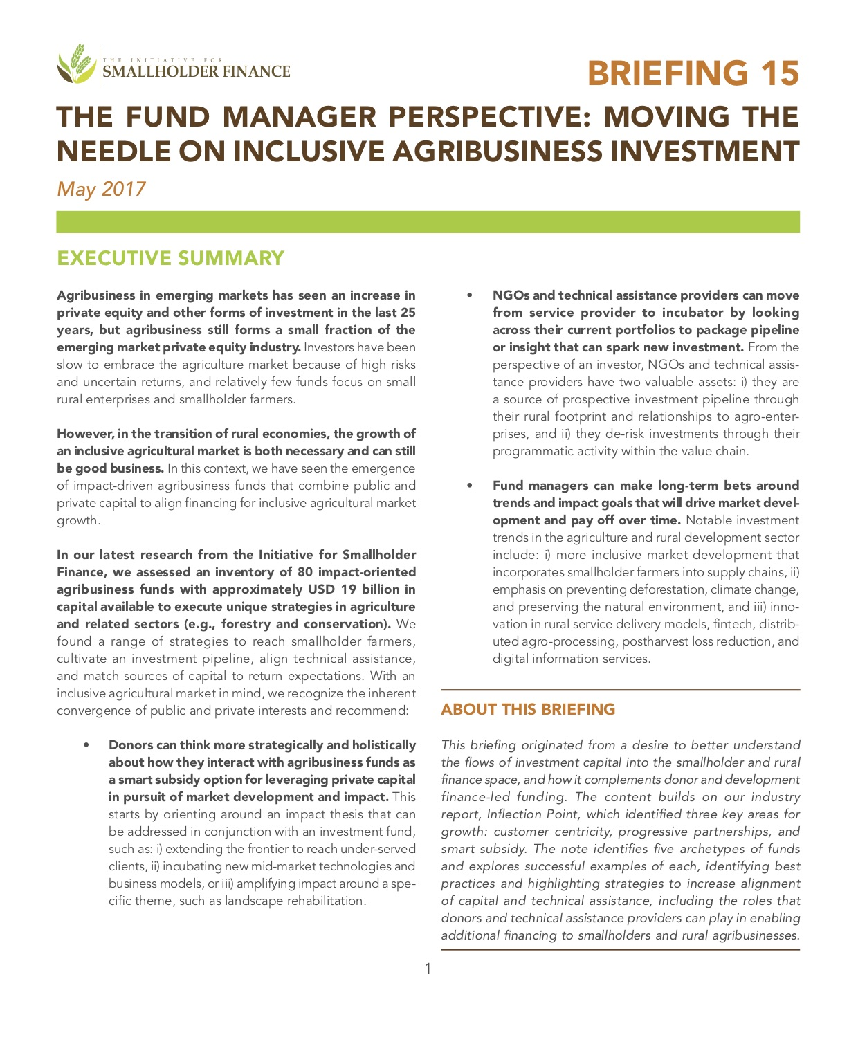The Fund Manager Perspective: Moving the Needle on Inclusive Agribusiness Investment