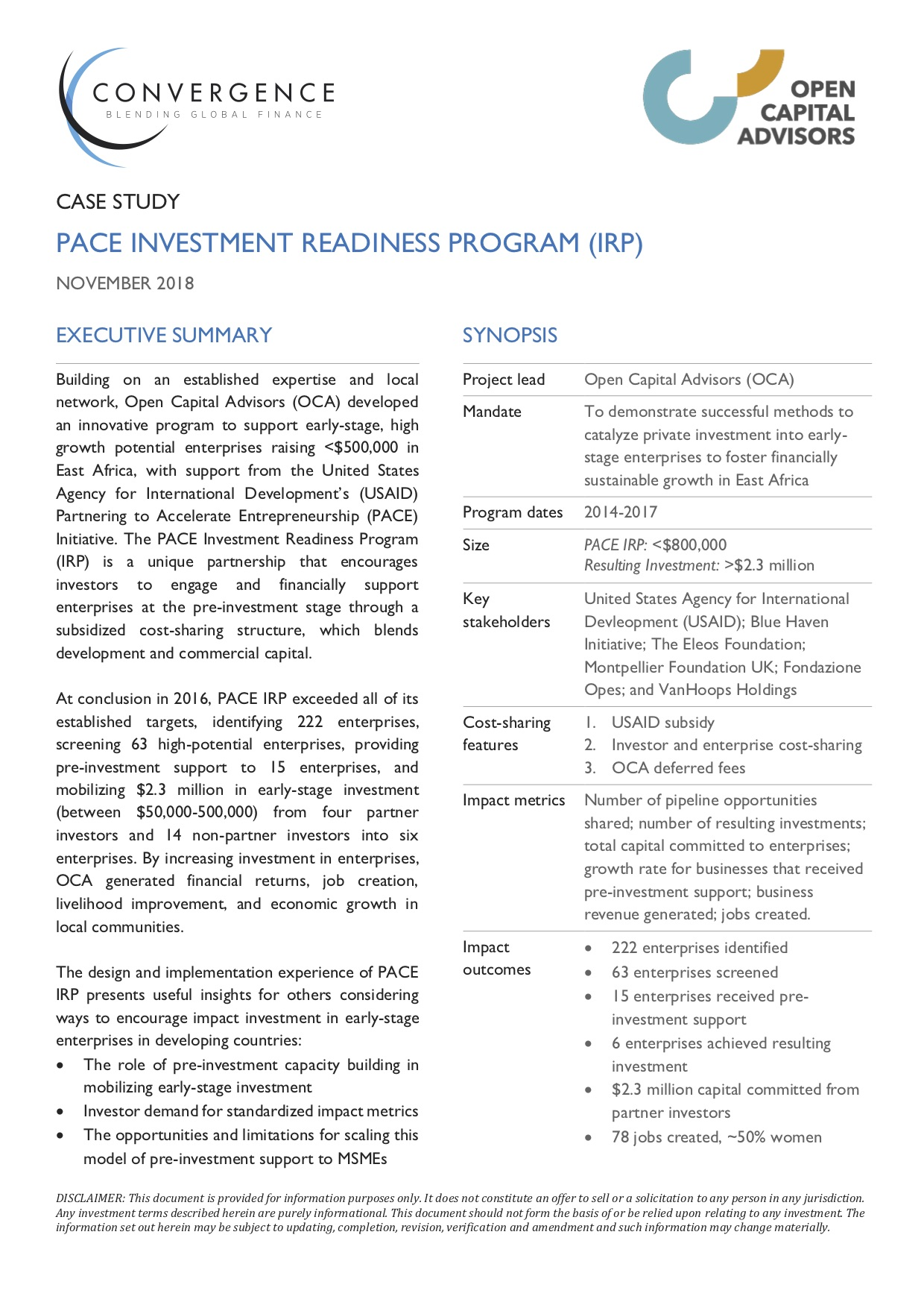 PACE Investment Readiness Program Case Study