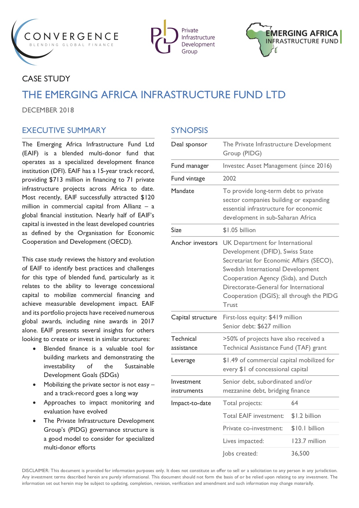 Emerging Africa Infrastructure Fund Case Study