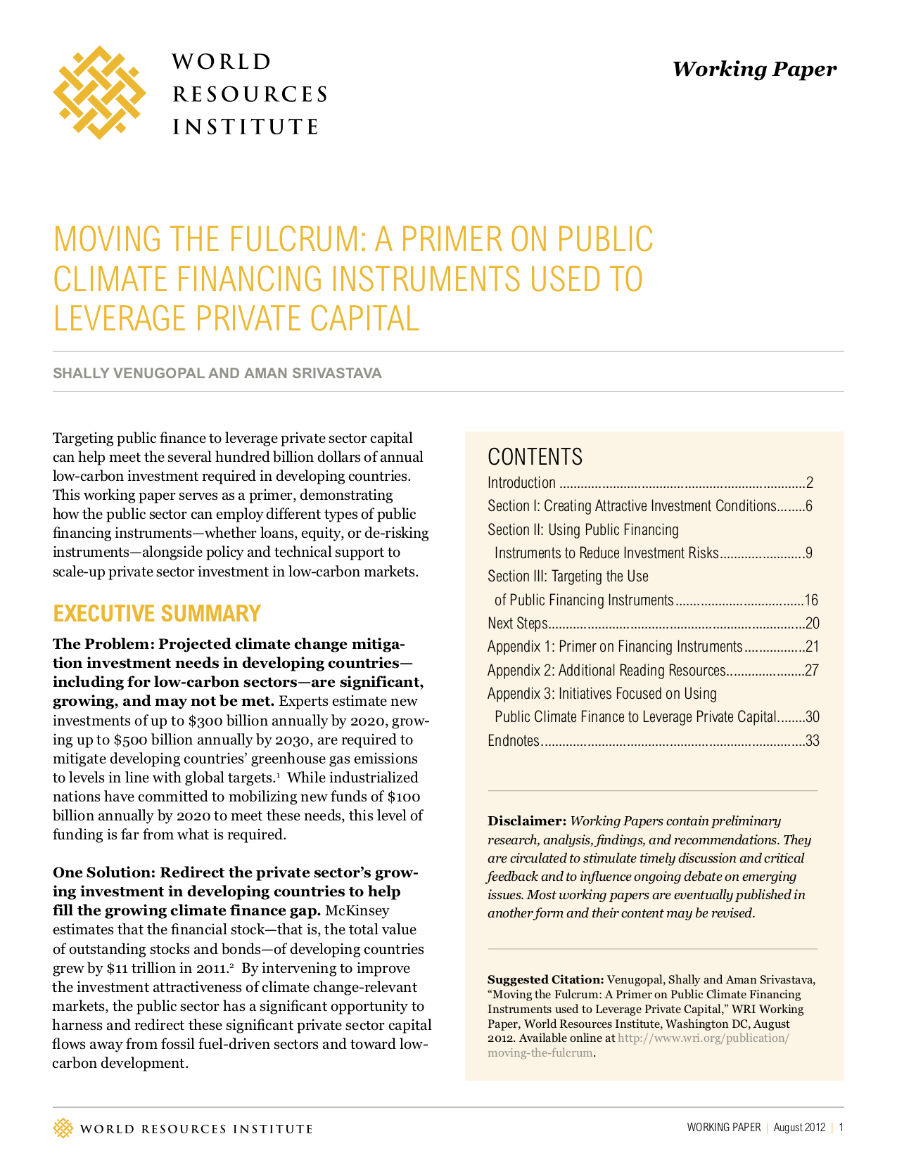 Moving the Fulcrum: A Primer on Public Climate Financing Instruments Used to Leverage Private Capital