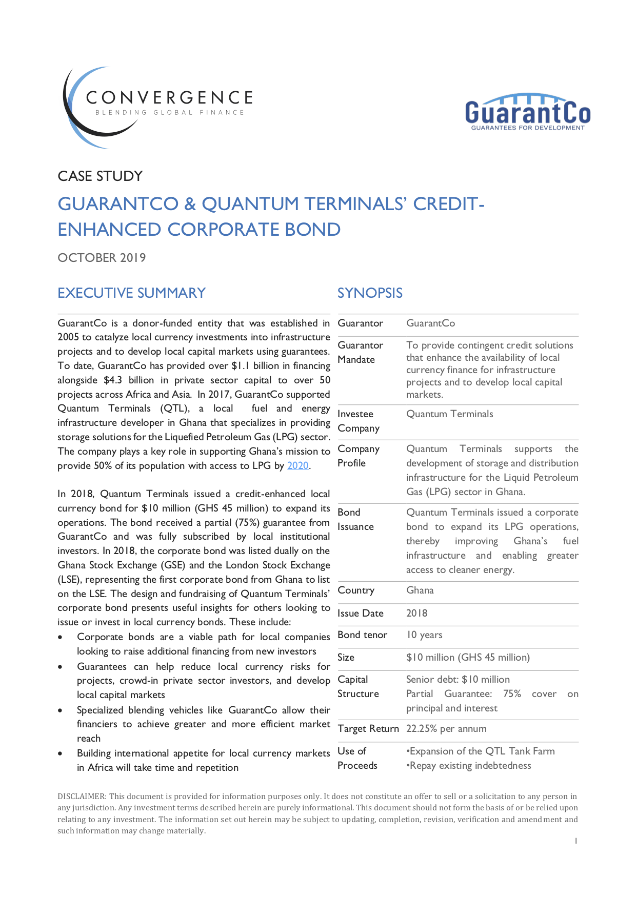 GuarantCo and Quantum Terminals' Credit-Enhanced Corporate Bond Case Study