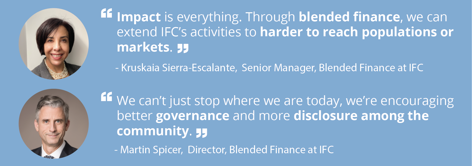 Member spotlight with Martin Spicer and Kruskaia Sierra-Escalante of IFC