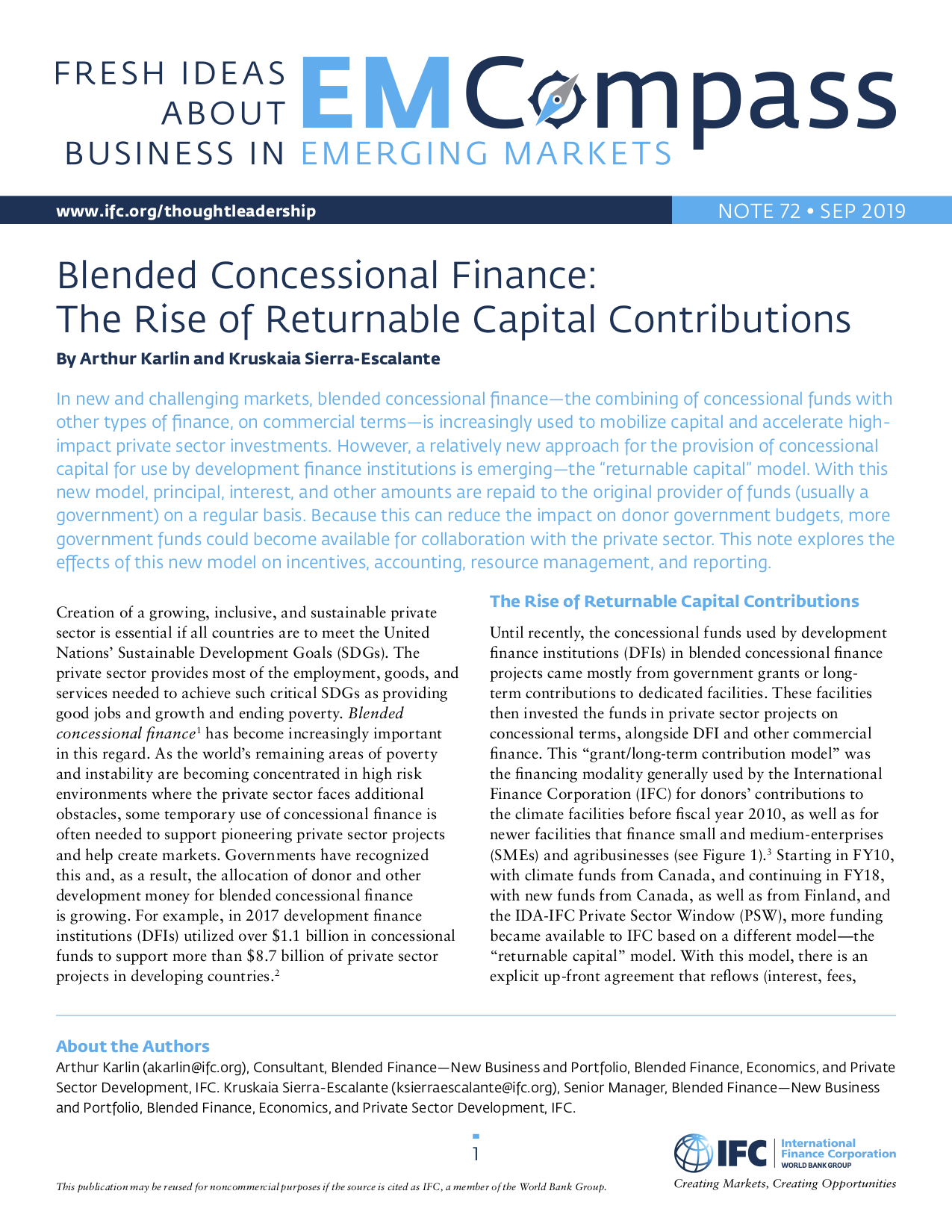 Blended Concessional Finance: The Rise of Returnable Capital Contributions