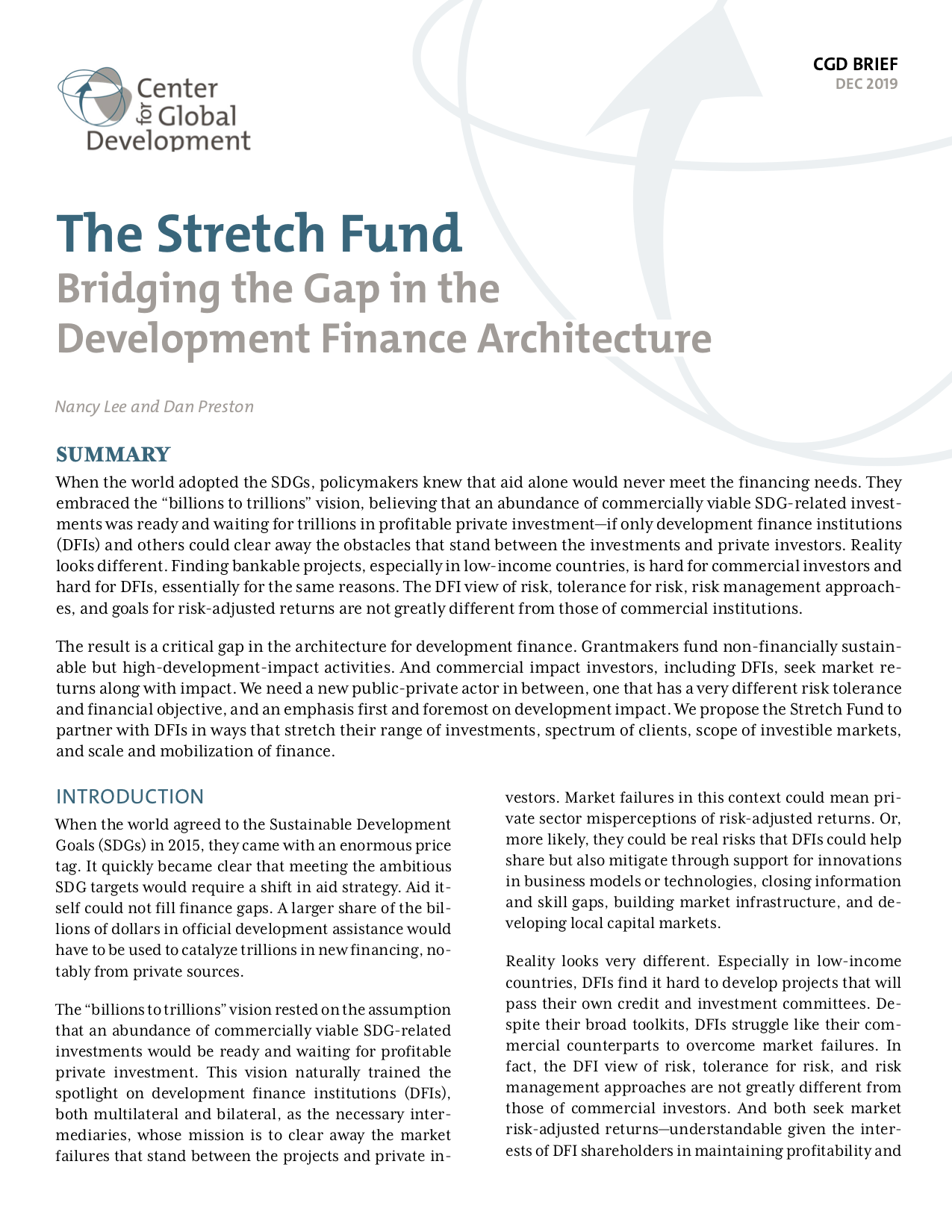 The Stretch Fund: Bridging the Gap in the Development Finance Architecture