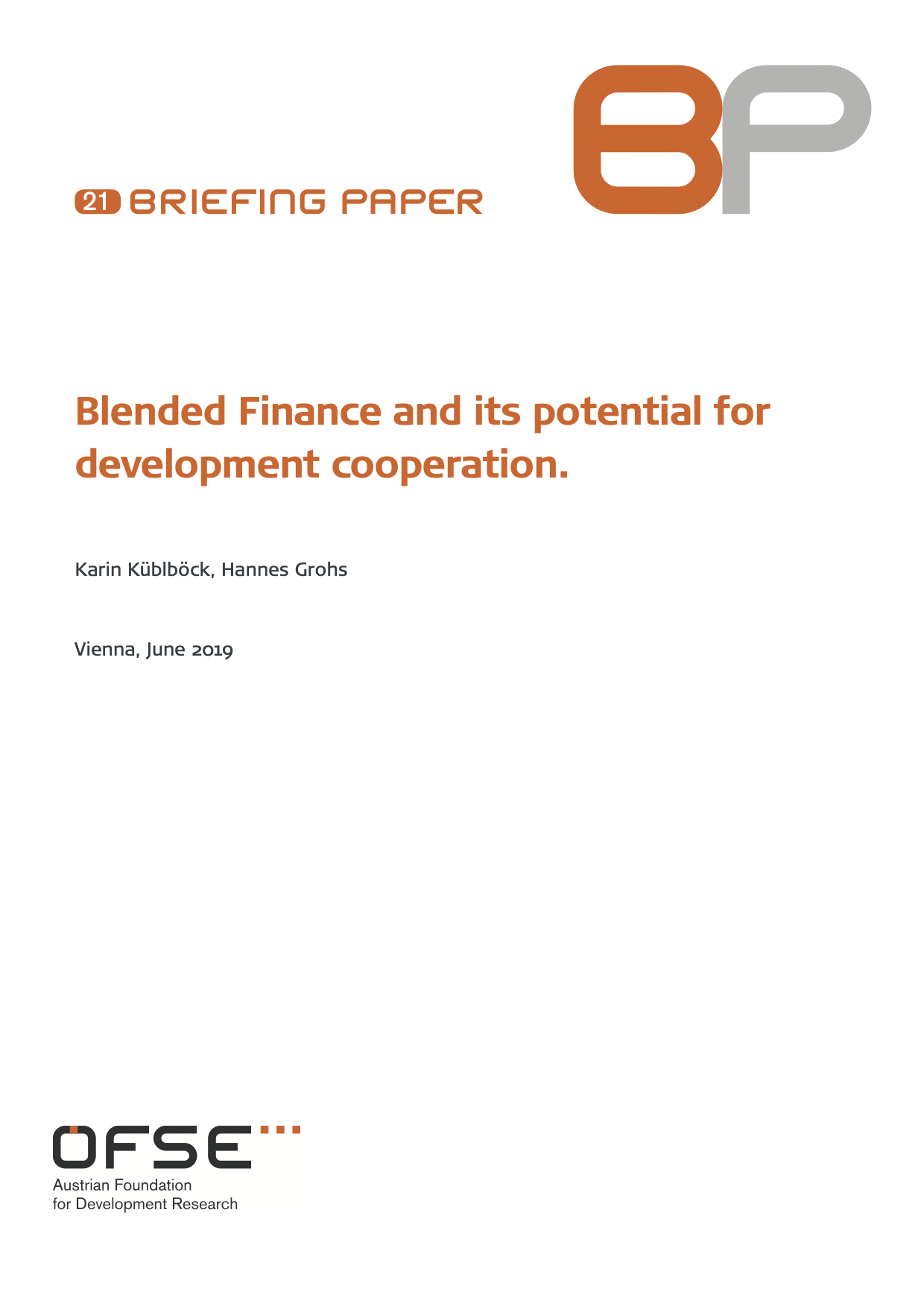 Blended Finance and its Potential for Development Cooperation