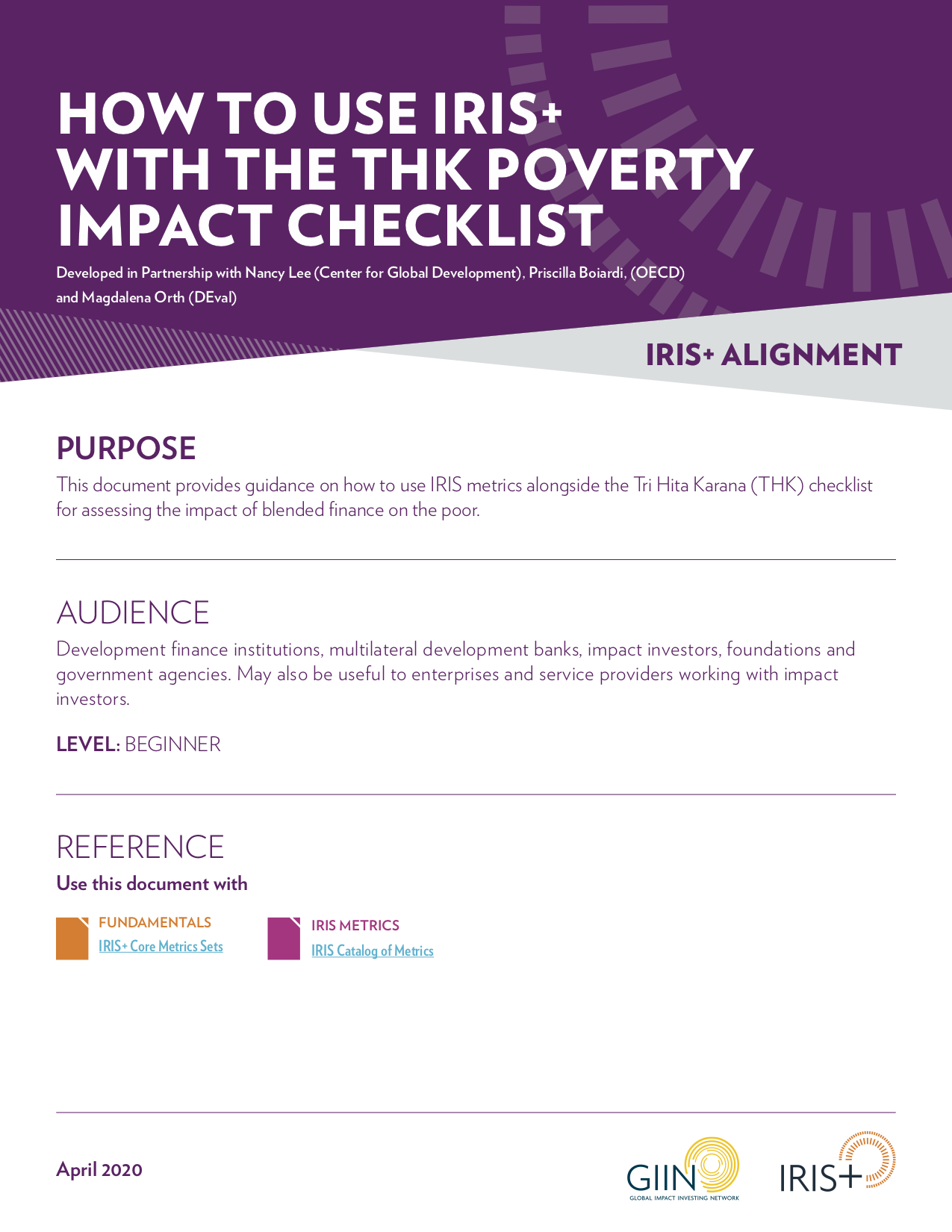 IRIS+ and the THK Poverty Impact Checklist