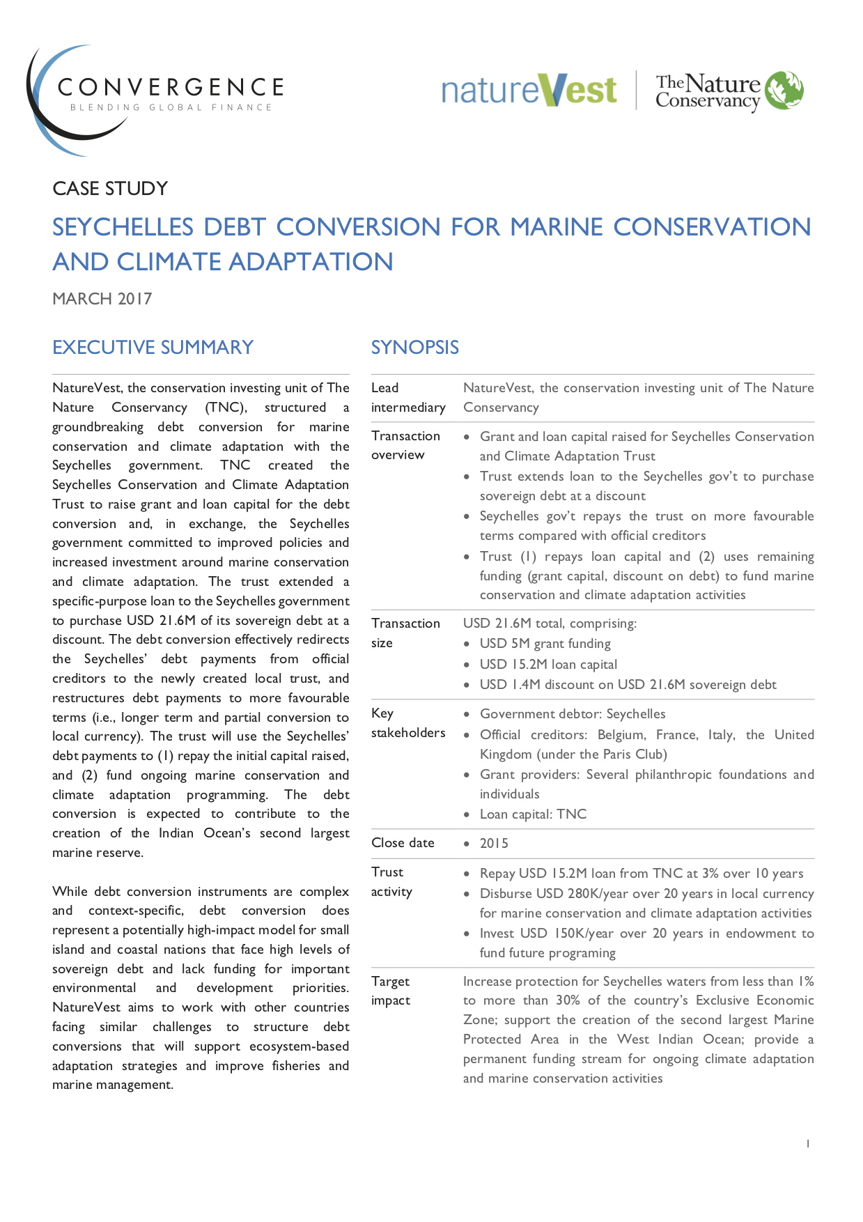 Seychelles Debt Conversion for Marine Conservation and Climate Adaptation Case Study