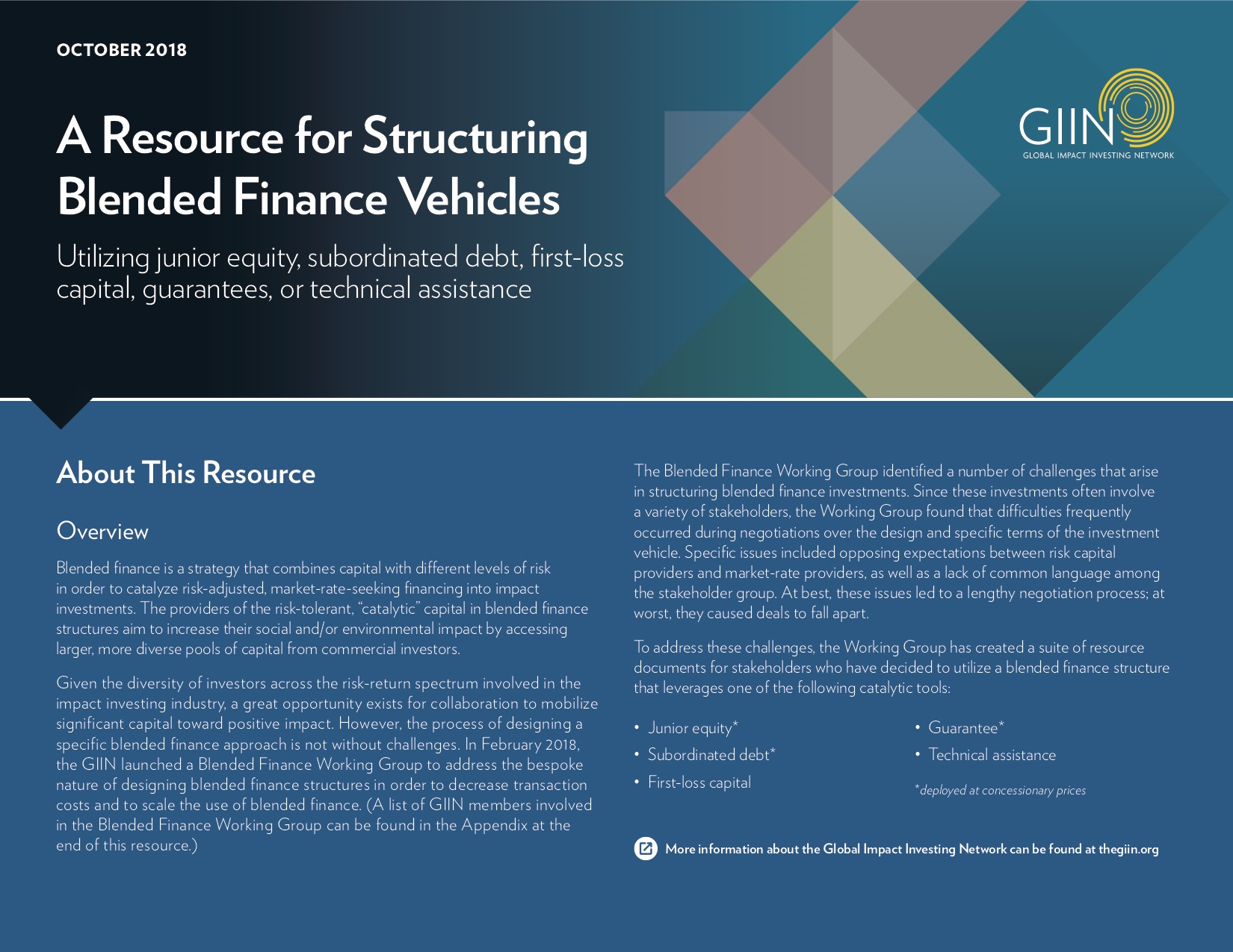 A Resource for Structuring Blended Finance Vehicles