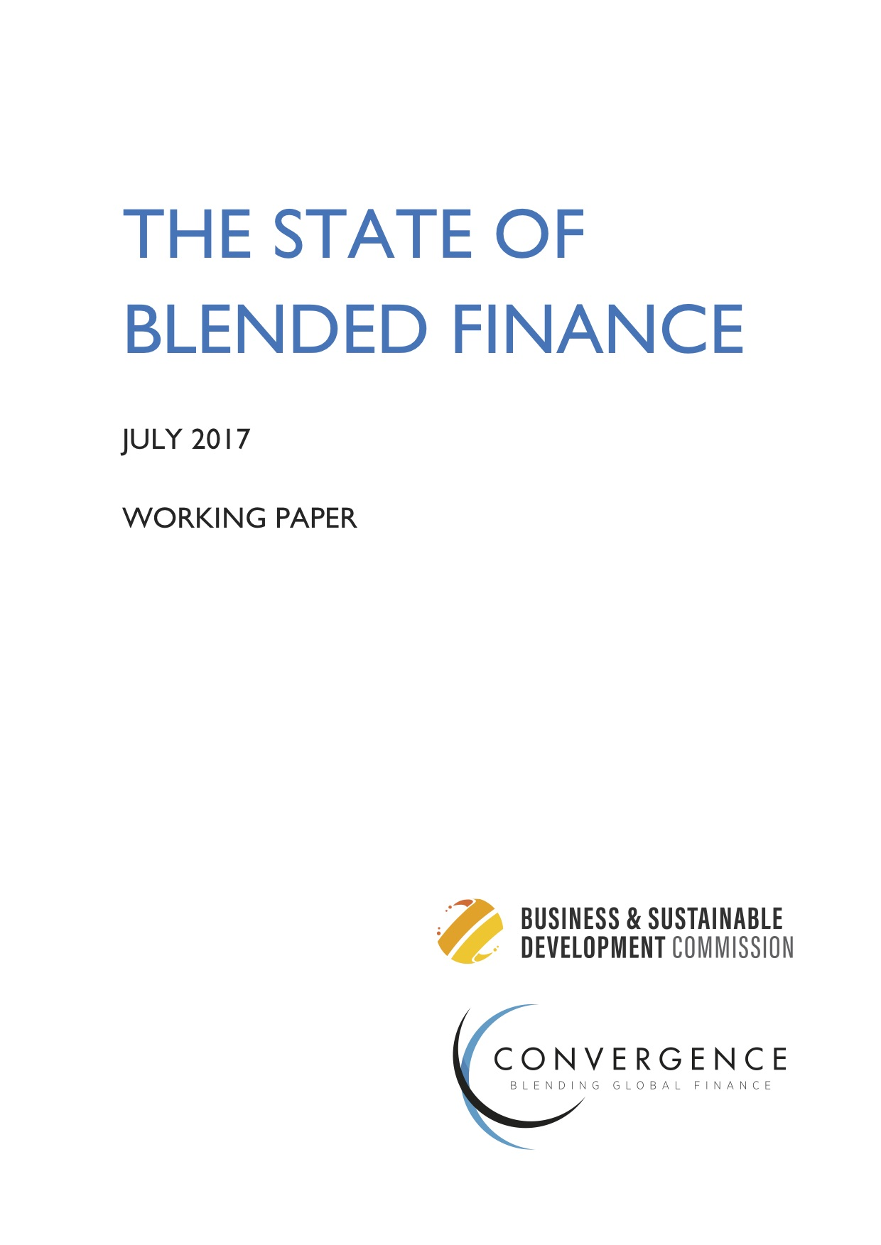 The State of Blended Finance 2017