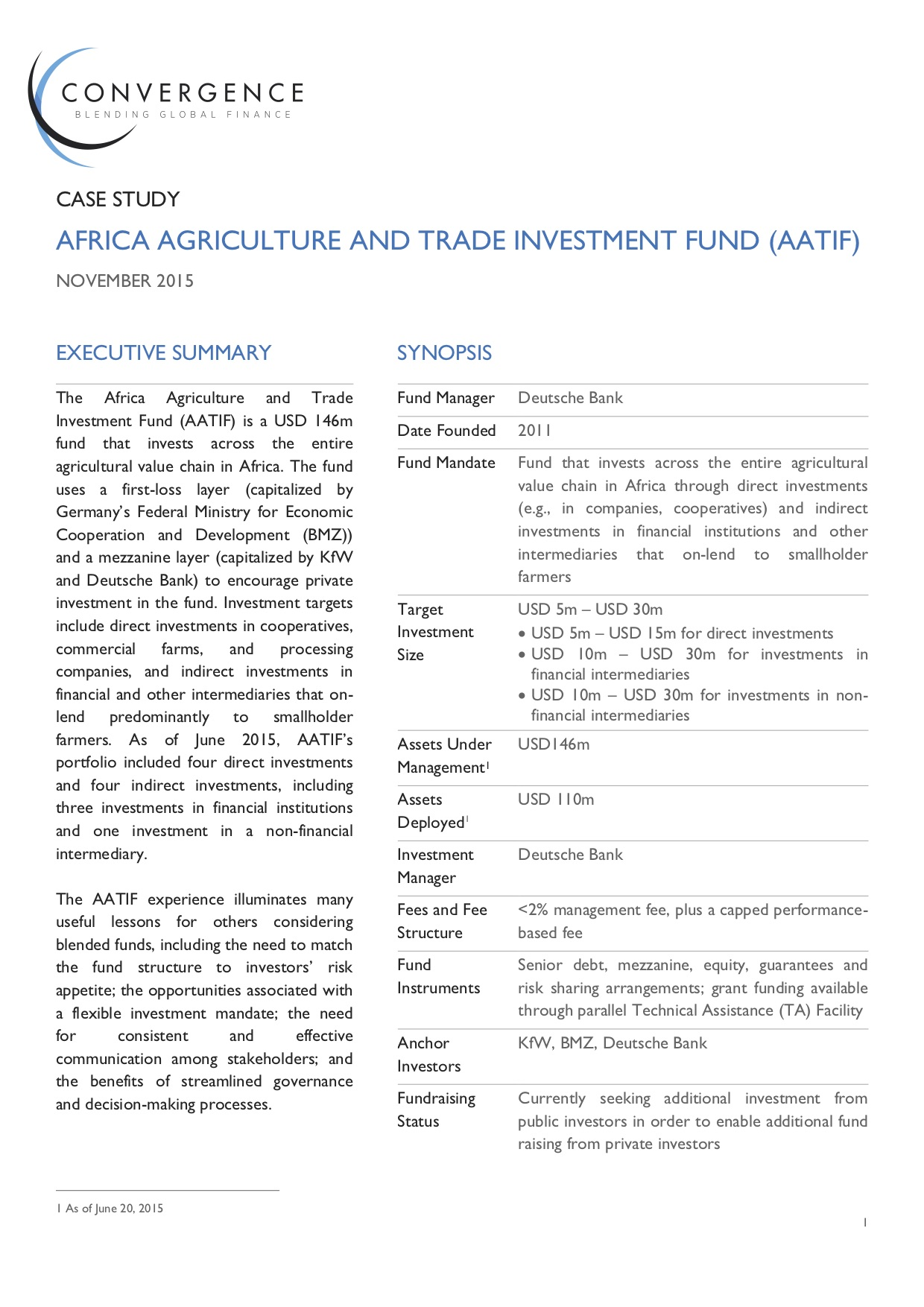 Africa Agriculture and Trade Investment Fund (AATIF) Case Study