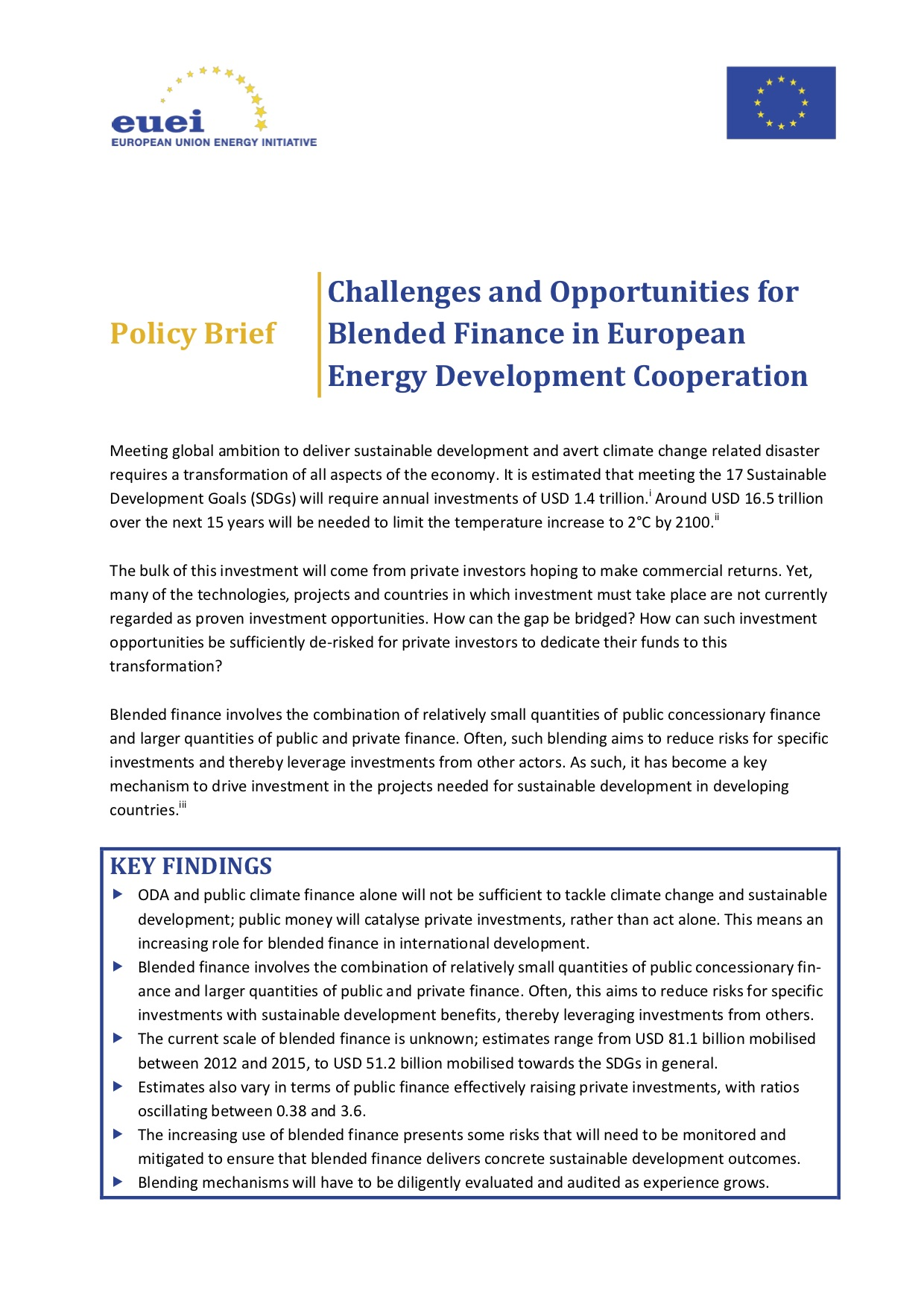 Challenges and Opportunities for Blended Finance in European Energy Development Cooperation