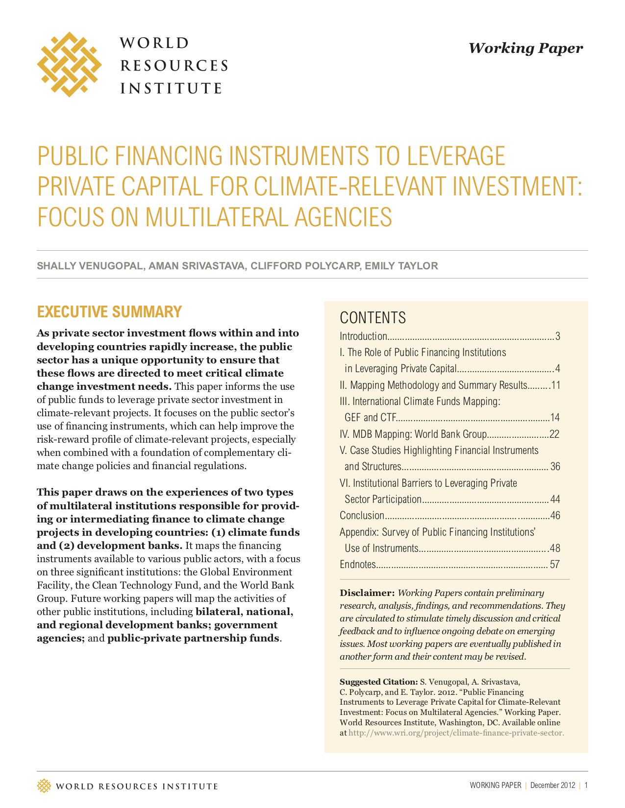 Public Financing Instruments to Leverage Private Capital for Climate-Relevant Investment: Focus on Multilateral Agencies