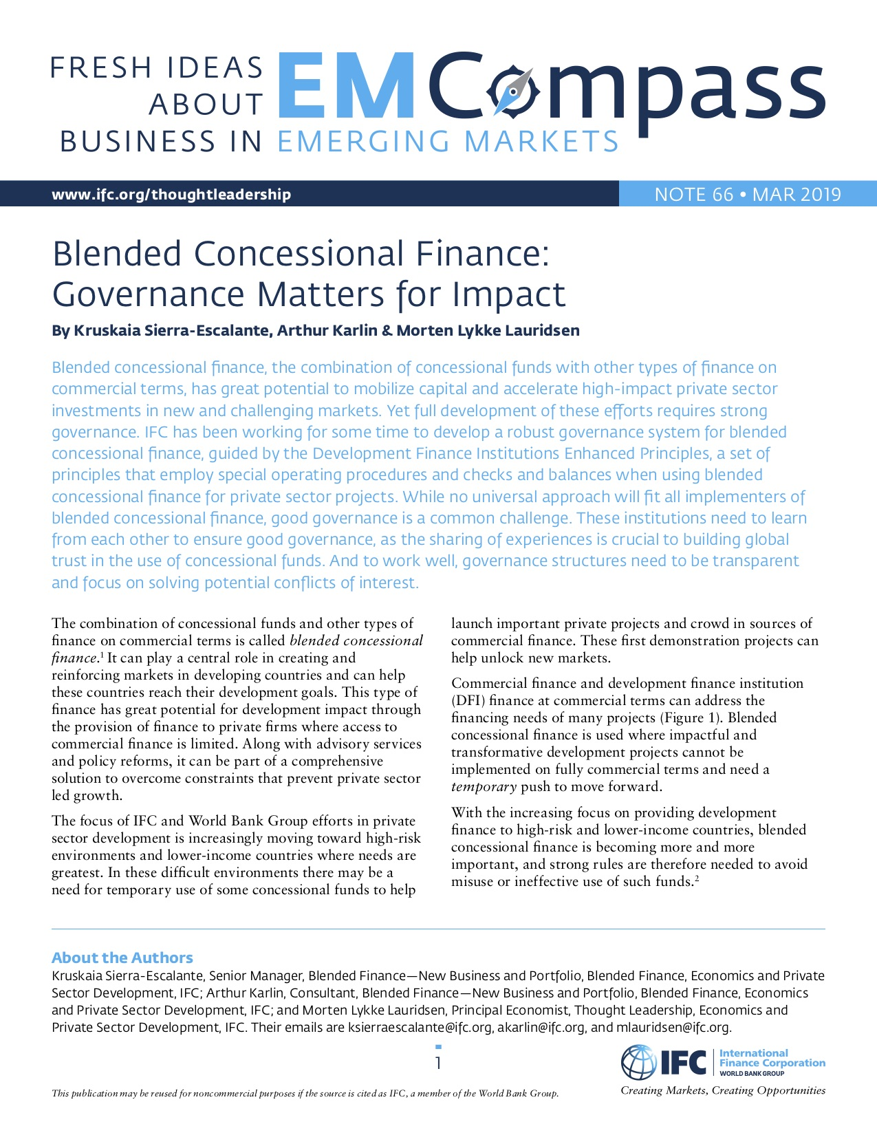 Blended Concessional Finance: Governance Matters for Impact