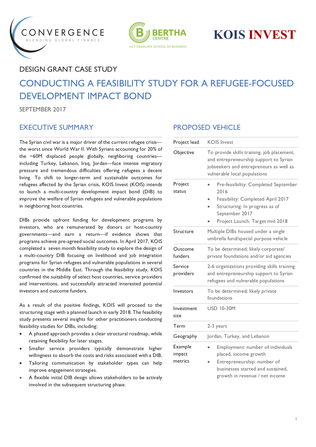 Conducting a Feasibility Study for a Refugee-focused Development Impact Bond - Design Grant Case Study