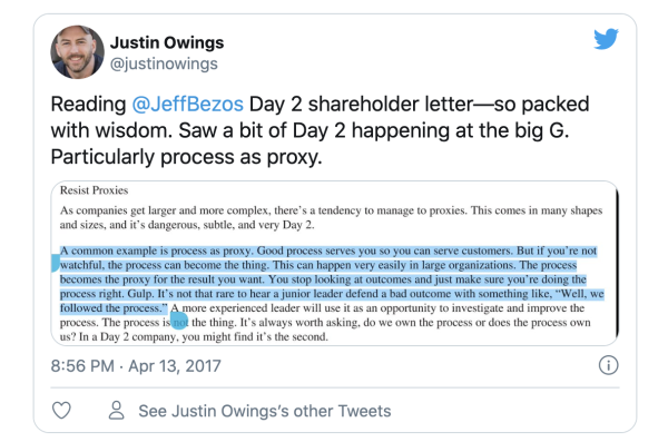 Screenshot of a retweet about a 2017 Amazon shareholder letter.