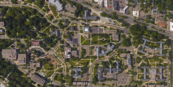 Aerial shot of Michigan State University campus showing many desire paths