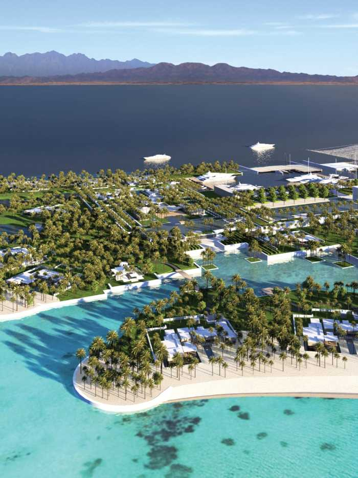 Aerial render of the marina and villas in the island