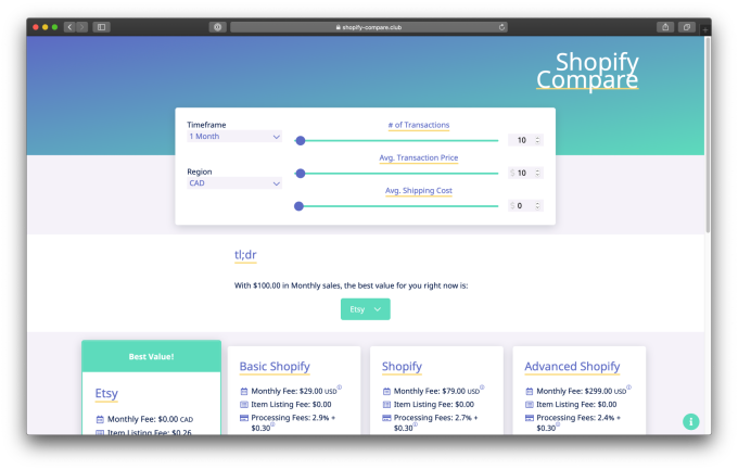 Shopify Compare Screenshot