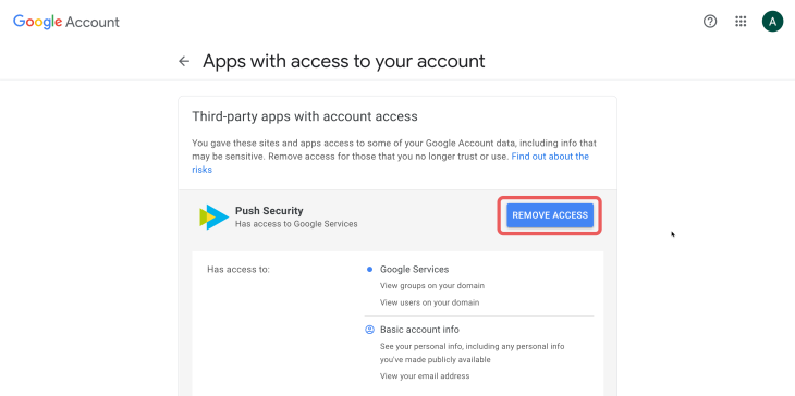 Google Workspace: third party apps remove Push