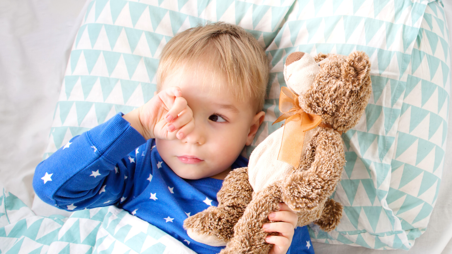 Toddler laying in bed awake holding teddy bear