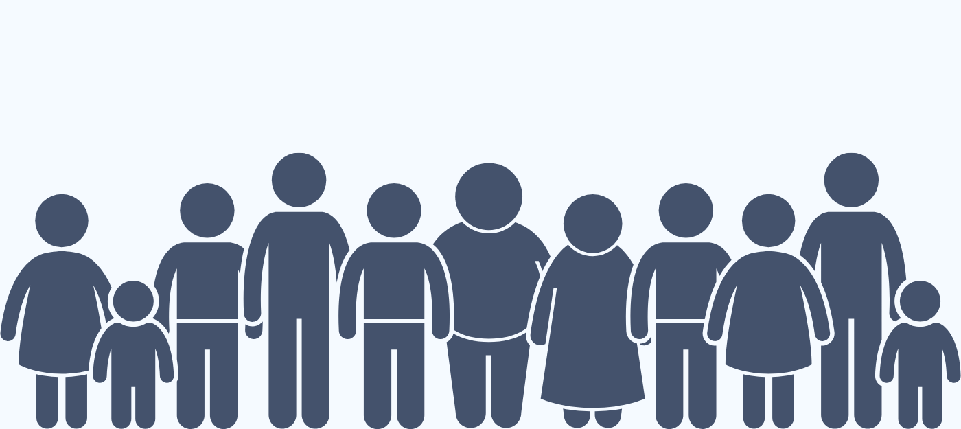 navy blue illustration of a group of individuals
