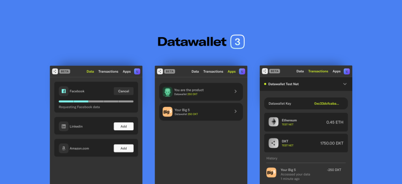Datawallet 3.0 allows developers to power the next generation internet with data owned and controlled by users.