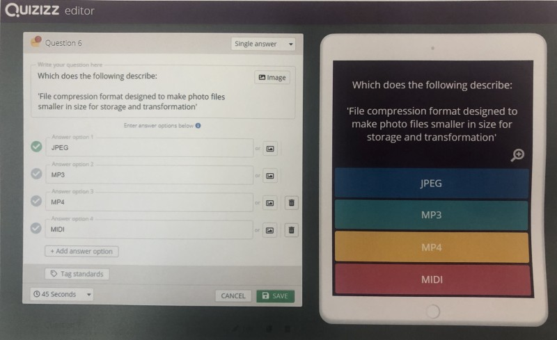 Quizizz is a useful tool that allows for self-marking, whilst also letting teachers track progress