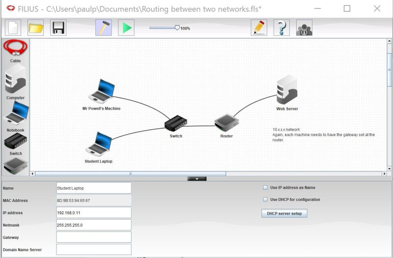 Two connected networks sharing client-server communications on the network simulator Filius