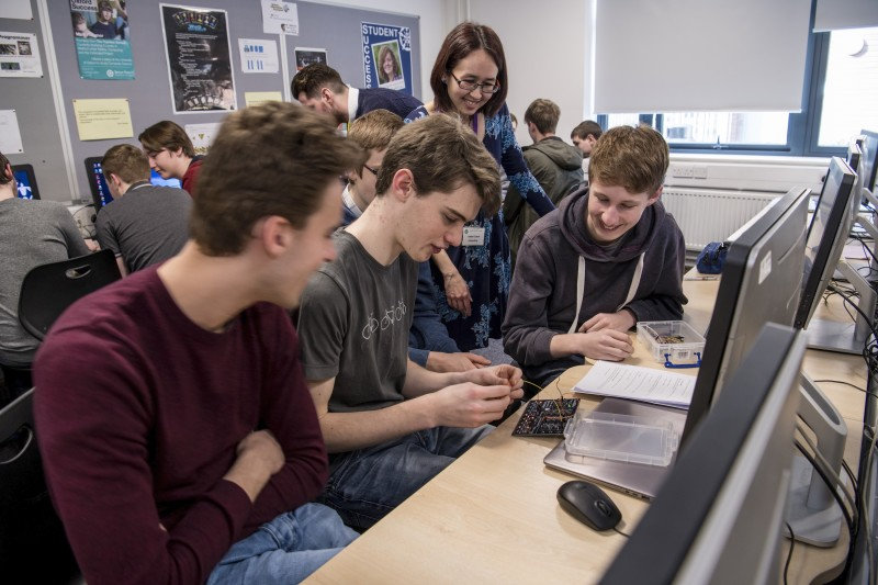 A Computer Science teacher running a session with the Logic and Arithmetic Kit. Image credit: University of Southampton.
