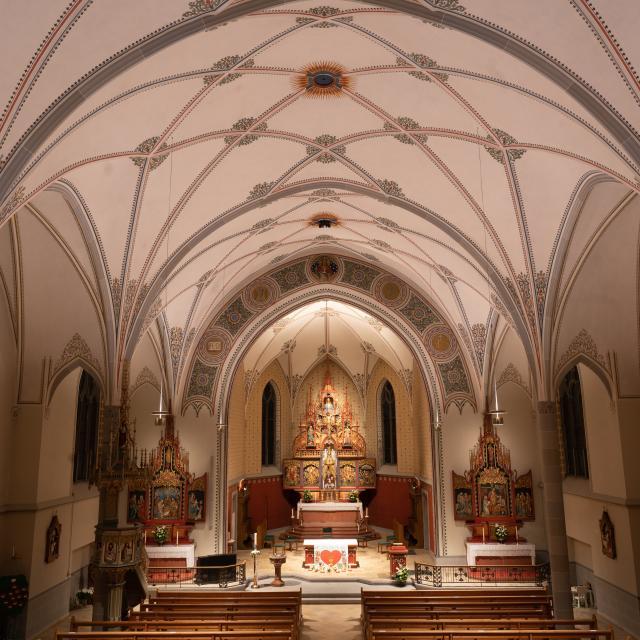 Lichtszene St. Margrethen Decke und Kirche
