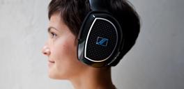 woman wearing sennheiser headphones