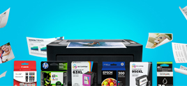 4inkjets printer and ink cartridges on blue background