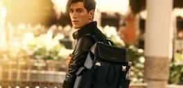 man wearing a black backpack