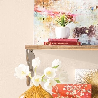 white flowers with paintings and a plant on a wooden shelf